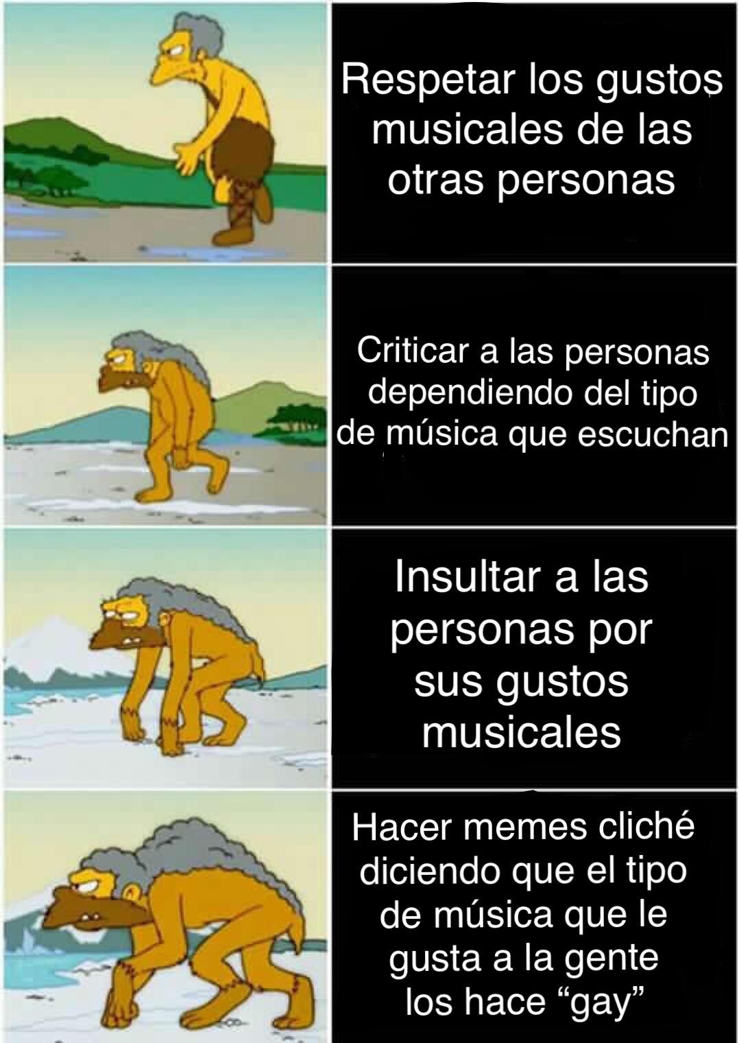Evolución reversa de Moe - meme