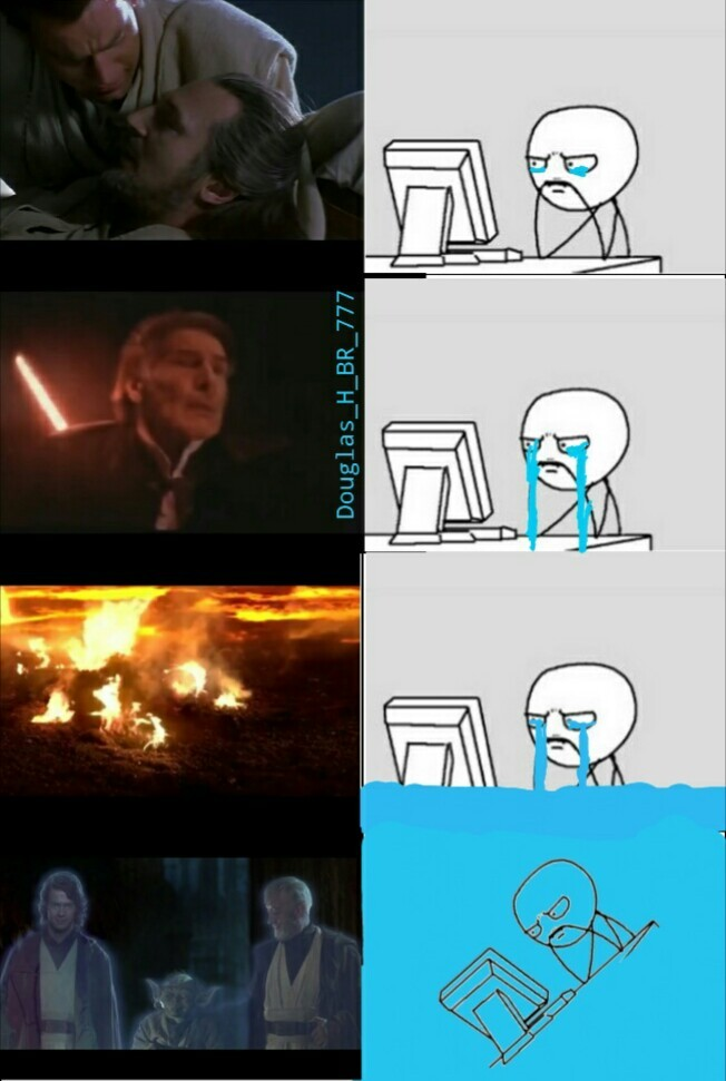 Eu assistindo a saga star wars - meme