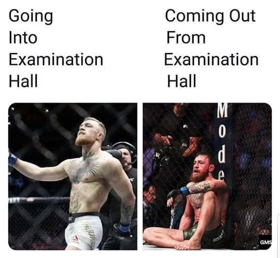 Difference between going inside and coming outside from the examination Hall - meme