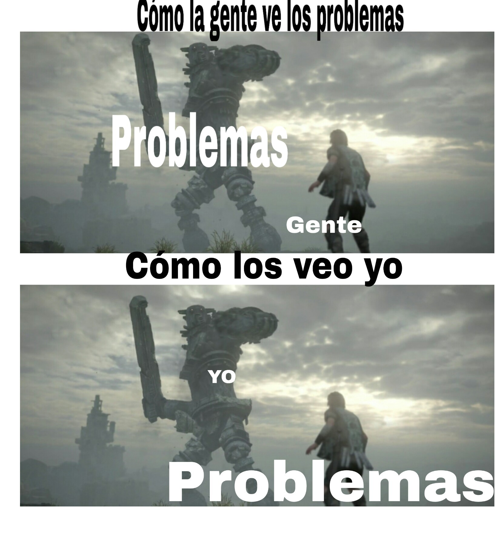 Colosal y diminuto problema - meme