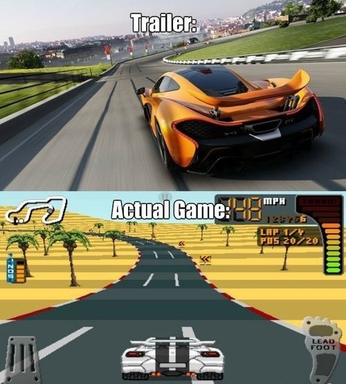 Image result for ea trailer vs game meme