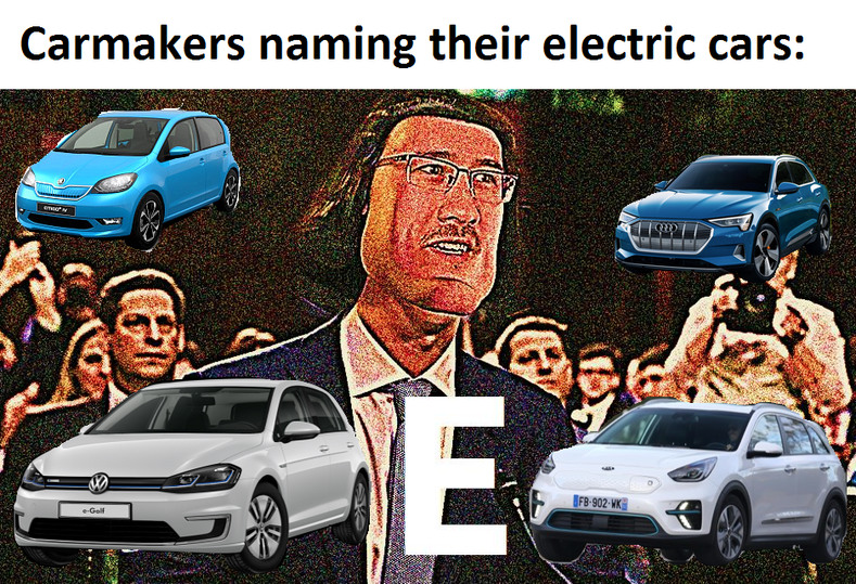 The cars: Citigo e iV; e-Golf; e-tron; e-Niro. - meme