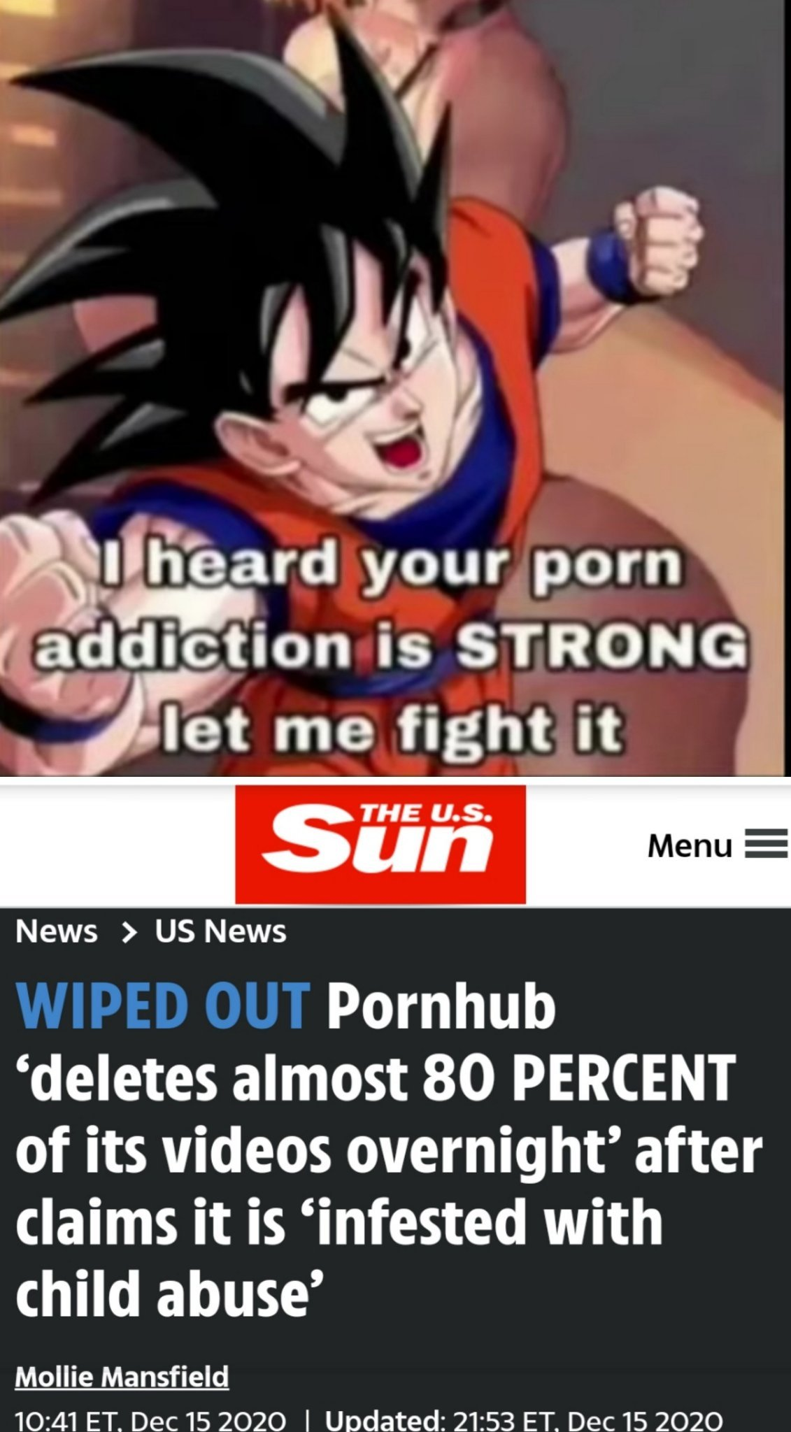Goku defeated your porn adiction :0 - meme