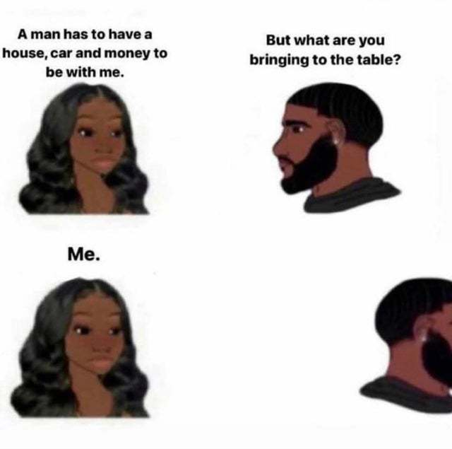 A man has to have a house, car and money to be with me - meme