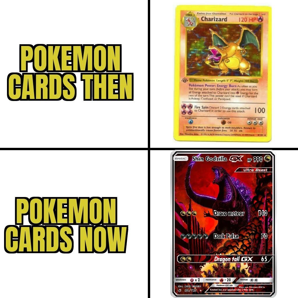The evolution of pokemon cards - meme