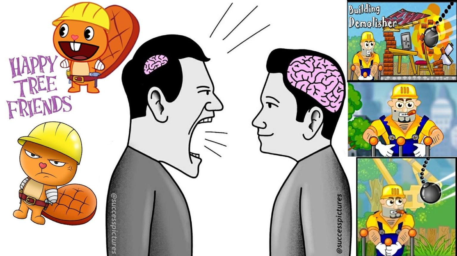 Contexto: El de la derecha es un juego donde el obrero muere de formas muy gore - meme