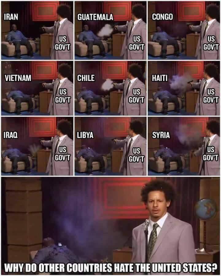 Pourquoi les autres pays n'aiment pas les USA (vu sur FB) - meme