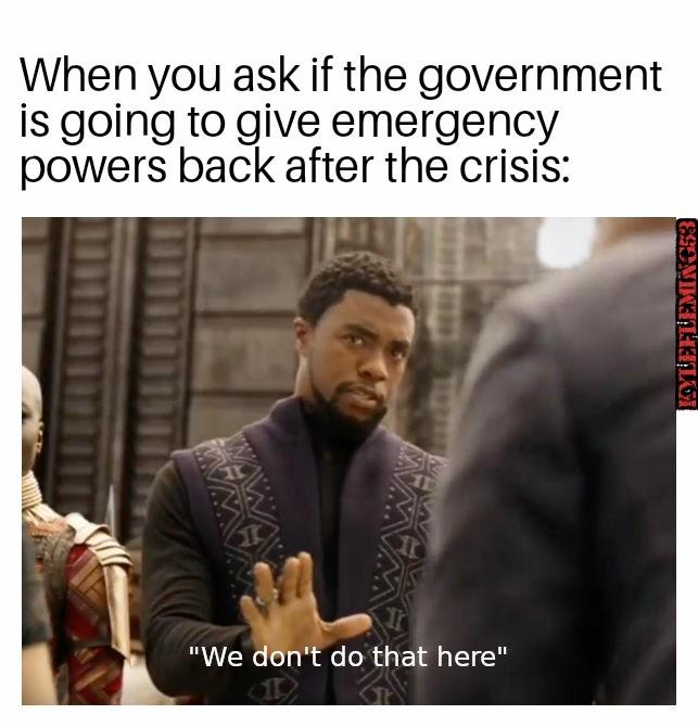 Never let a good crisis go to waste - meme