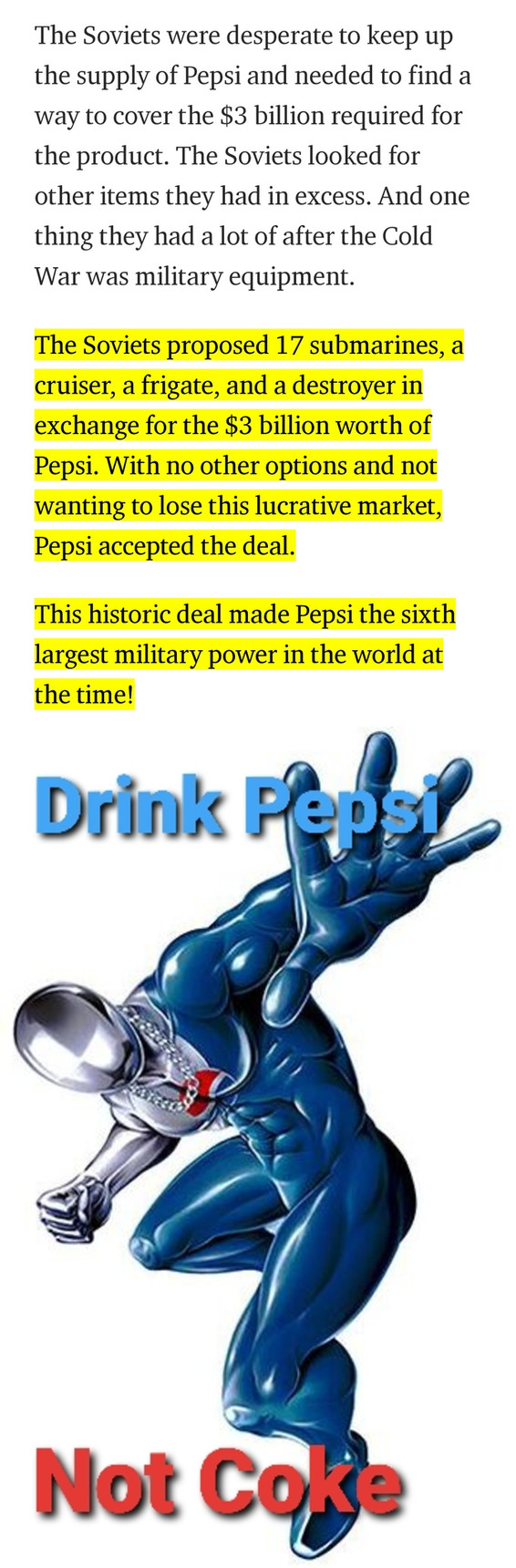 Remember pepsi was the 6th biggest military power at one point - meme