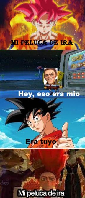 ¿Quien tiene la mejor peluca  de ira? Goku o Rumerlestinkilskin - meme
