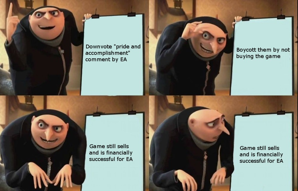 """""""As long as they have FIFA and Madden they're never going to go down.   Y'all cheering because EA had a bad year but they didn't because they raked in money like you wouldn't even believe through their sports division. FIFA and Madden will keep them in"""" - meme"""