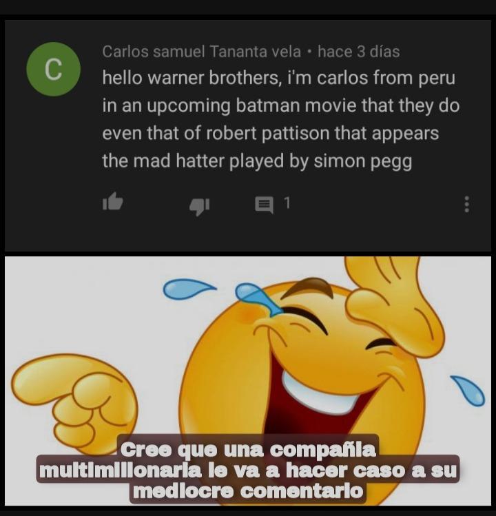 Contexto: un peruano pendejo pidiendo a Warner que pusieran a un actor : genius: en pelicula de batman de 2022 - meme