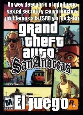 Contexto: El GTA San Andreas tenía un minijuego secreto sexual que cuando fue descubrió, provocó muchos problemas a Rockstar y a la ESRB por la mala calificación - meme