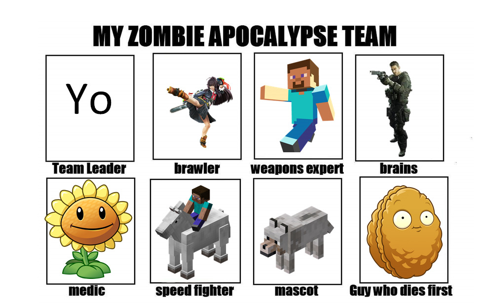 Equipo para Apocalipsis Zombie - meme
