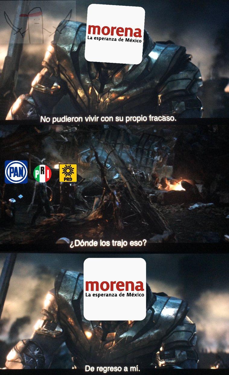 Para los que no son mexicanos: pri, pan y prd perdieron contra morena en las primeras elecciones y se aliaron para las de diputados - meme