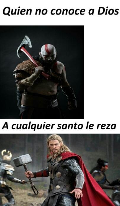 Kratos y su hacha thor con su martillo los que jugaron entienden - meme