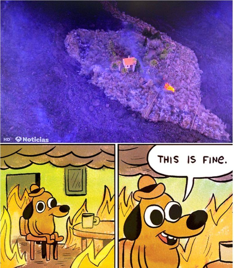 House surrounded by lava. La Palma volcano 2021 - meme