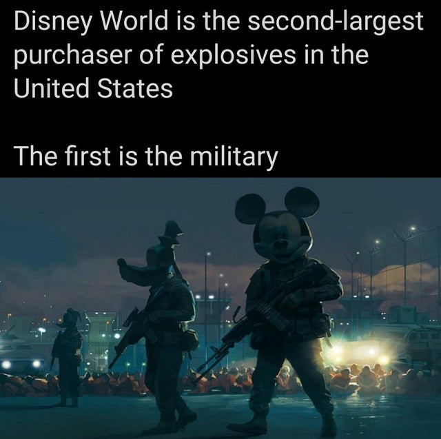 Disney World is the second-largest purchaser of explosives in the United States - meme