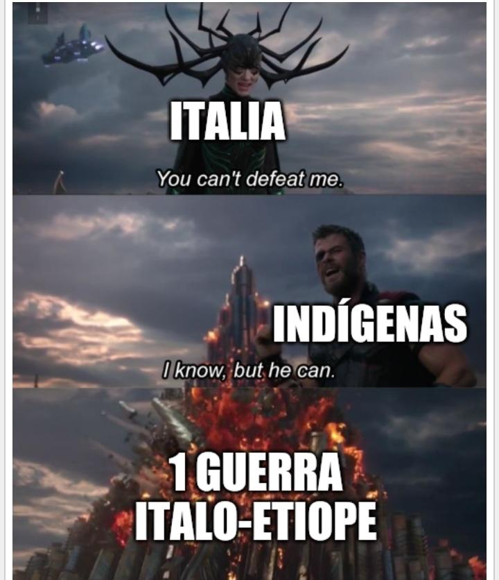 La derrota Italiana en Etiopía fue la única victoria concluyente por parte de los indigenas - meme