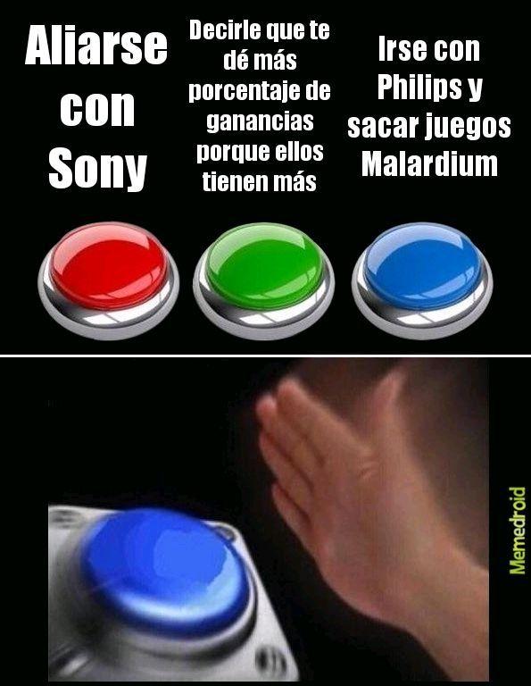 Aunque en realidad victimizan mucho a Sony :betterthan: , cuando Nintendo solo le pareció piola la alianza, sin embargo lo de Philips si fue su culpa :facepalm: :sadtroll: - meme